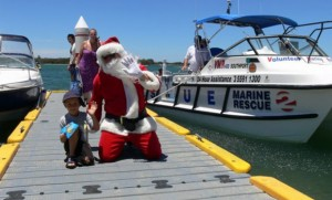 santa on boat dock